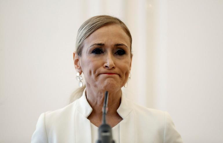 Cristina Cifuentes durante la rueda de prensa ofrecida el miércoles en la que ha anunciado su dimisión