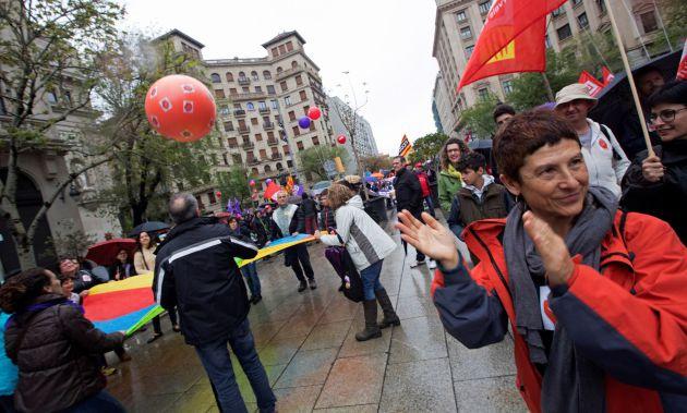 Manifestación convocada por los principales sindicatos catalanes, CCOO y UGT.