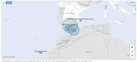 Datos de ACNUR que suman las llegadas por tierra a Ceuta y Melilla