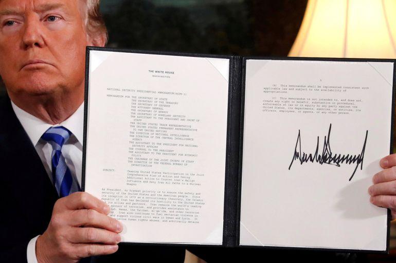 El presidente de EEUU, Donald Trump, tras firmar la ruptura del acuerdo nuclear con Irán