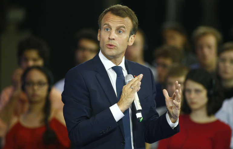 Emmanuel Macron durante su conferencia en Alemania