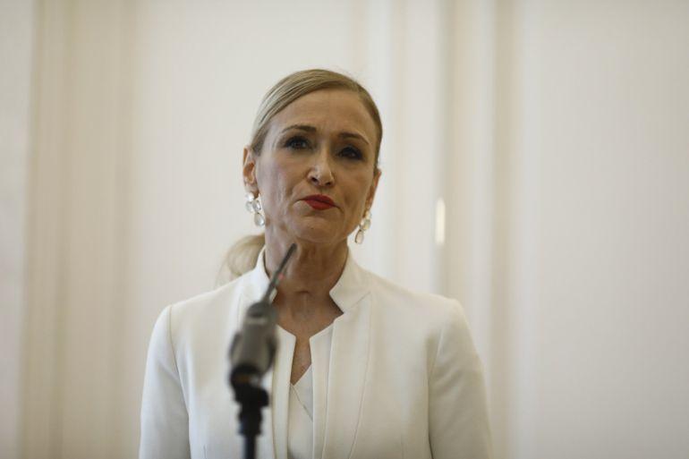 Cristina Cifuentes el día que anunció su dimisión