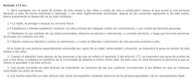 Artículo del Código Penal que castiga el acoso