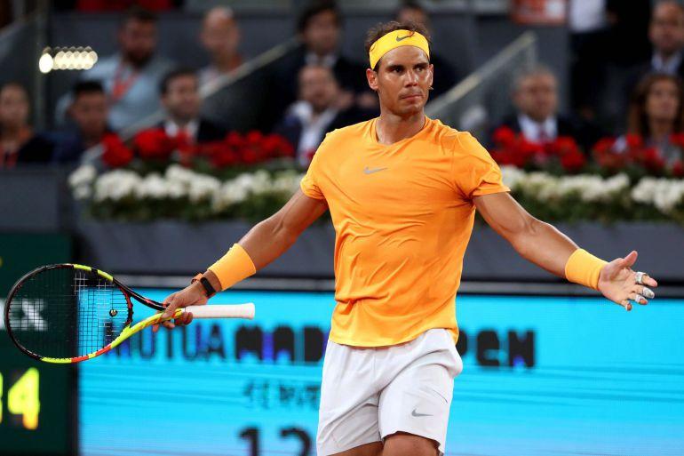 El tenista Rafa Nadal en un encuentro del Mutua Madrid Open disputado en la Caja Mágica