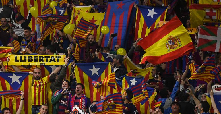 La afición azulgrana celebra el título de la Copa del Rey del FC Barcelona.