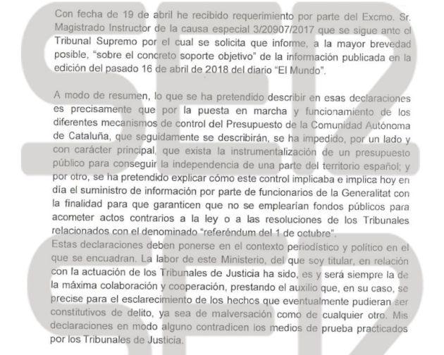 Montoro detalla al juez Llarena hasta nueve denuncias al fiscal y al Tribunal de Cuentas por el proceso independentista