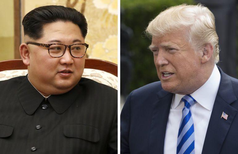 El líder norcoreano, Kim Jong-Un (i) y el presidente estadounidense Donald Trump (d)