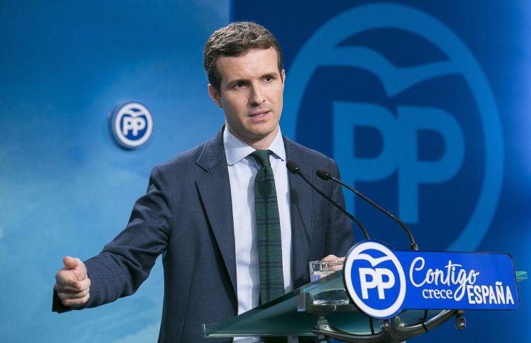 Rueda de prensa del vicesecretario de Comunición del PP, Pablo Casado