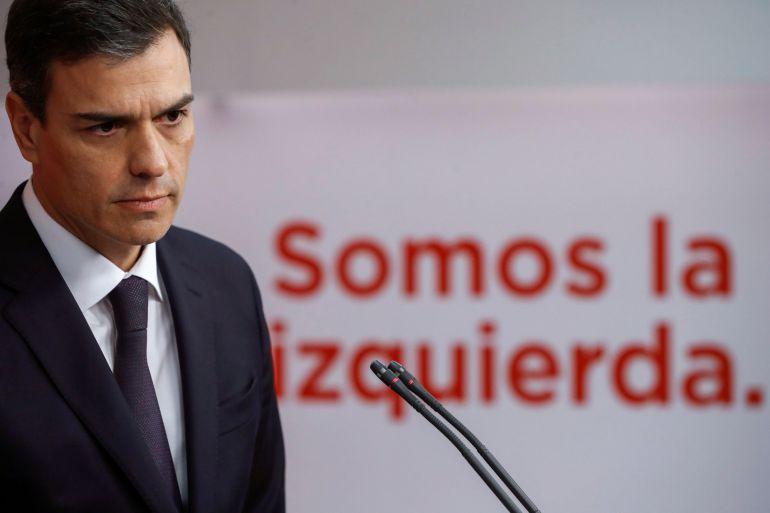 El líder del PSOE, Pedro Sánchez, en una rueda de prensa ofrecida
