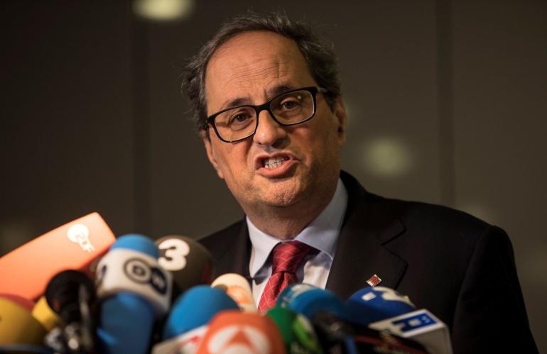 El recién elegido presidente de la Generalitat de Cataluña, Quim Torra hace una declaración a la prensa en Berlín
