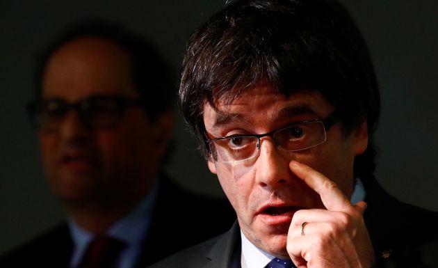 Carles Puigdemont este miércoles tras reunirse con Quim Torra