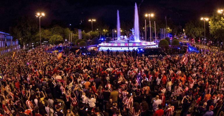 Imagen de la celebración del Atlético de Madrid tras ganar la Europa League