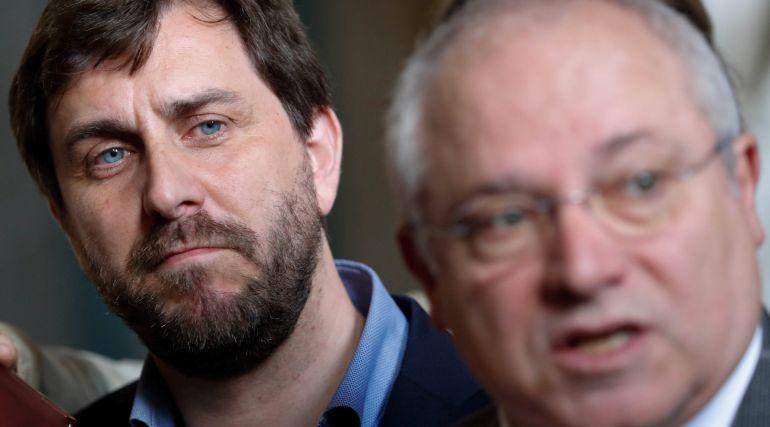 Comín y Puig ayer tras conocer la decisión del tribunal belga