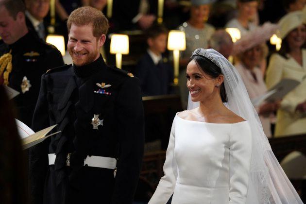 El príncipe Harry y Meghan Markle en la capilla de San Jorge durante su enlace matrimonial.