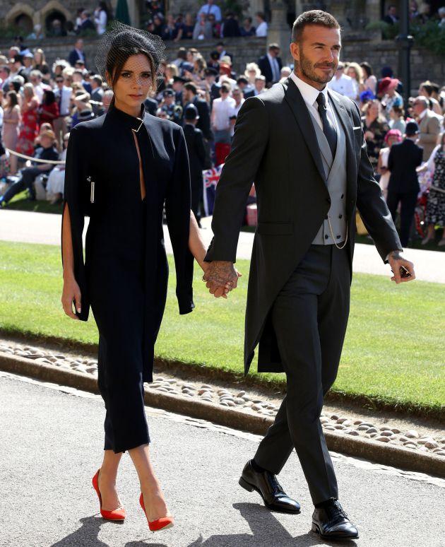 Victoria Beckham y David Beckham en el enlace matrimonial del príncipe Enrique y Meghan Markle.