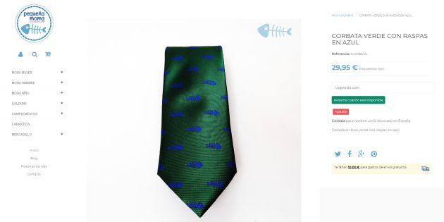 La web de Pequeña Moma donde se ve que la corbata está agotada