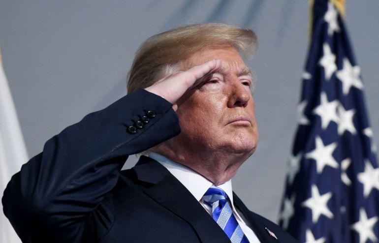 El presidente de los EEUU, Donald Trump, durante un acto con militares