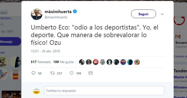 El tuit sobre el deporte de Màxim Huerta que se ha hecho viral