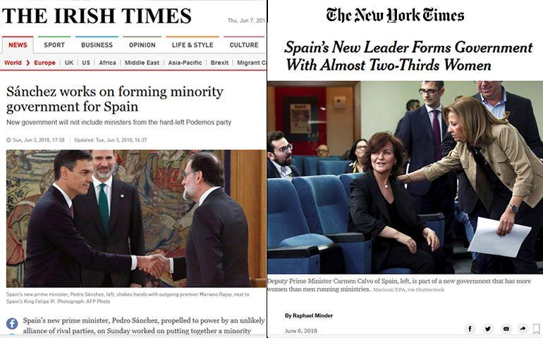 Las noticias sobre el Gobierno de Pedro Sánchez en el Irish Times y el New York Times