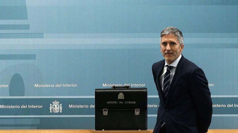 El ministro del Interior Fernando Grande-Marlaska, durante la ceremonia de traspaso de cartera en el Ministerio del Interior en Madrid.
