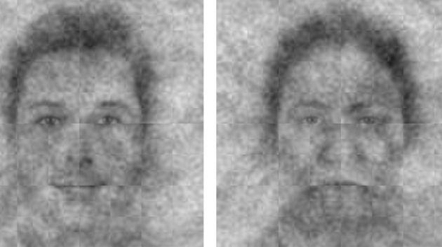 El rostro de la izquierda representa a Dios. El de la derecha, el rostro que menos apoyos ha recibido durante la encuesta.