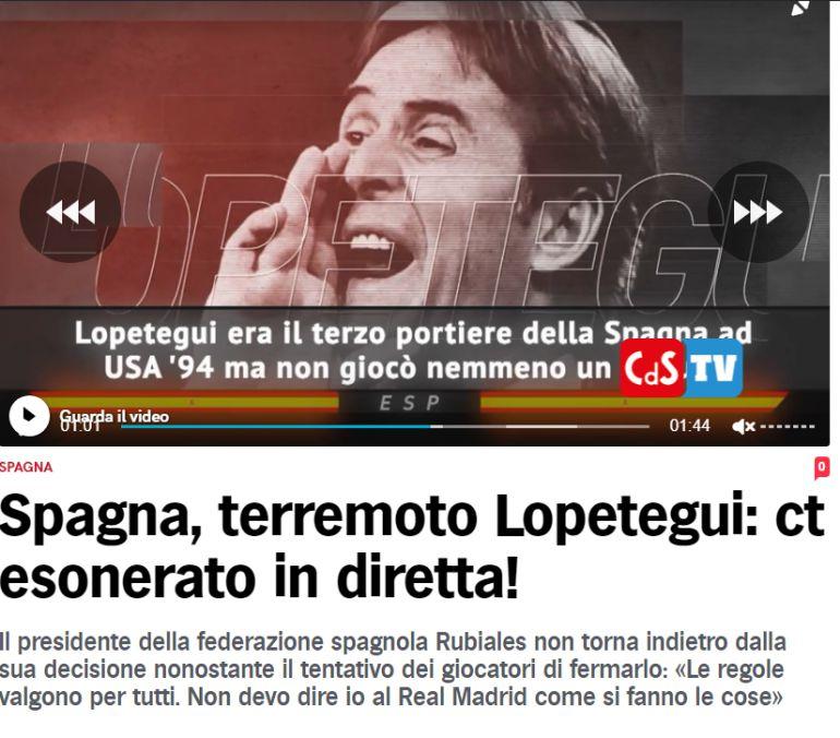El Corriere dello Sport anuncia la destitución de Lopetegui como seleccionador de España.