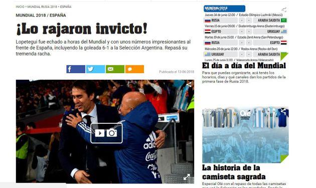 Portada del diario Olé de Argentina