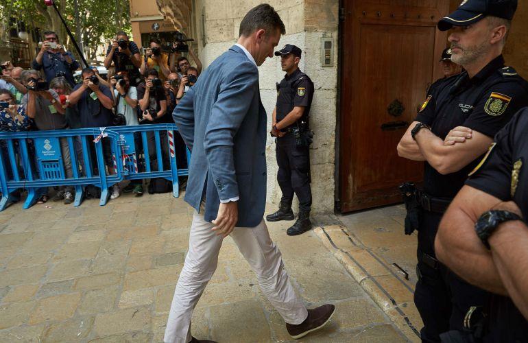 Iñaki Urdangarin, a su llegada a la Audiencia de Palma.