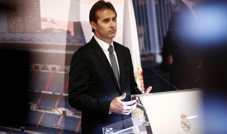 Julen Lopetegui, en su presentación como nuevo entrenador del Real Madrid.