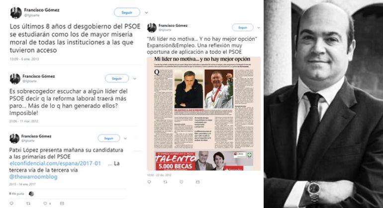 Los polémicos tuits de Francisco Gómez, asesor político y miembro del Gabinete de Pedro Sánchez. Ya ha borrado su cuenta de Twitter