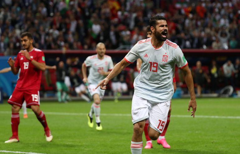 Diego Costa celebra su gol a Irán.