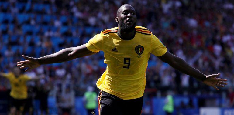 Lukaku celebra el segundo gol de Bélgica frente a Túnez