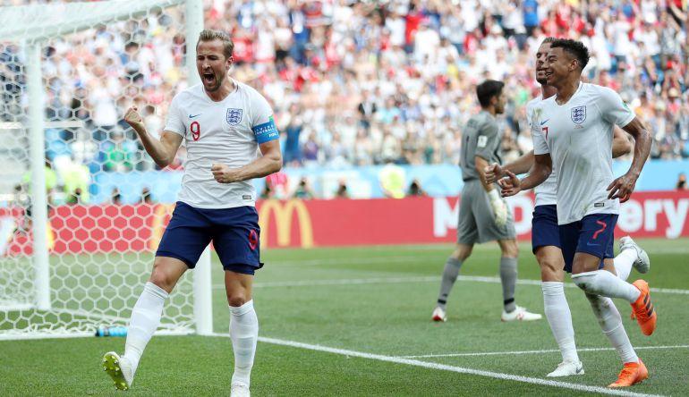 Kane celebra el segundo gol ruso frente a Panamá