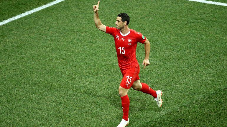 Dzemaili celebra el gol de Suiza frente a Costa Rica