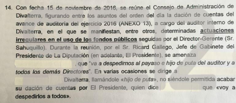 La SER accede a la denuncia de los trabajadores de Divalterra que ha provocado la detención del presidente de la Diputación de Valencia, Jorge Rodríguez, y varios de sus colaboradores