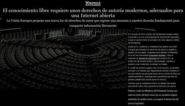 Wikipedia protesta por la nueva directiva.