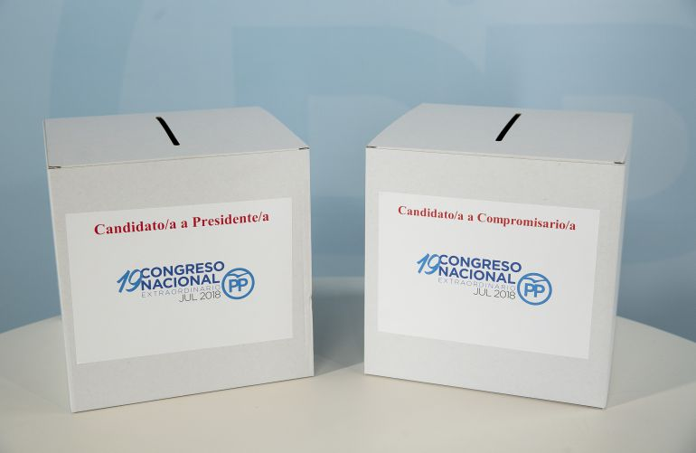 Las urnas para la votación en las primarias del PP