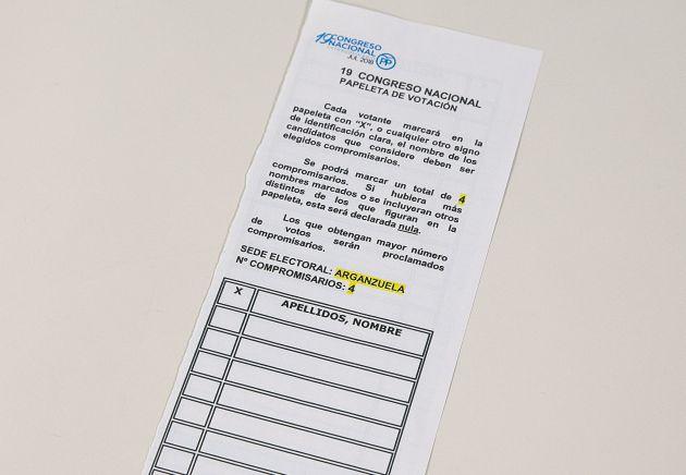 La papeleta de votación de los compromisarios
