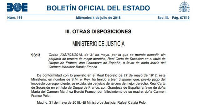 Concesión del título de Duque de Franco con Grandeza de España
