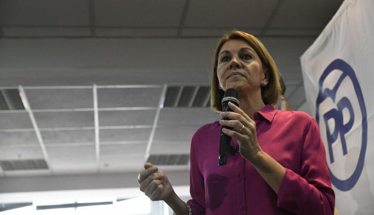 María Dolores de Cospedal durante un encuentro con afiliados en Madrid