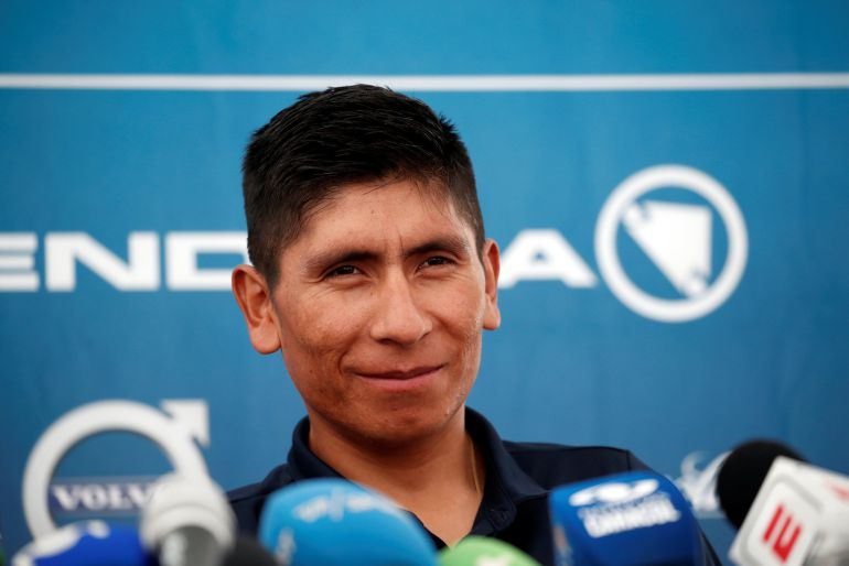 Nairo Quintana del equipo Movistar en una rueda de prensa