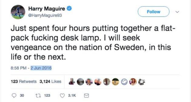 Harry Maguire quedó muy dolido con la nación sueca después de tener que montar una lámpara de Ikea
