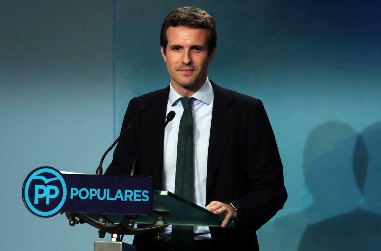 Pablo Casado, en la rueda de prensa posterior a la primera vuelta de la votación para elelgir al nuevo líder del PP