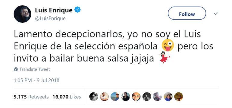 El tuit de cantante Luis Enrique
