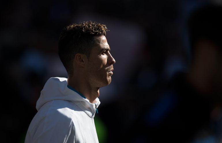 Cristiano Ronaldo, antes de un partido con el Real Madrid