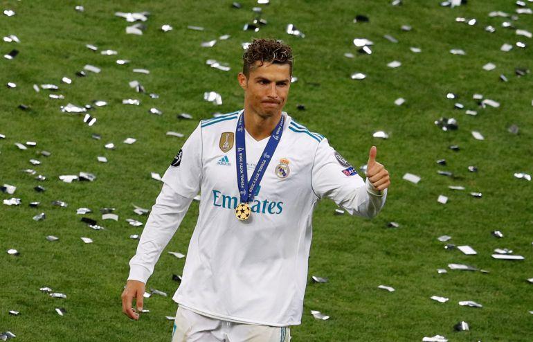 Cristiano celebrando su última Champions en Kiev