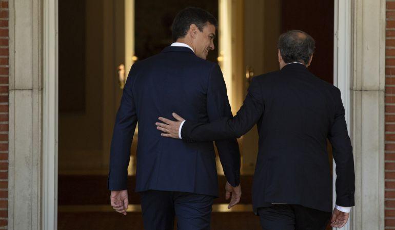 Reunión Sánchez-Torra en el palacio de la Moncloa.