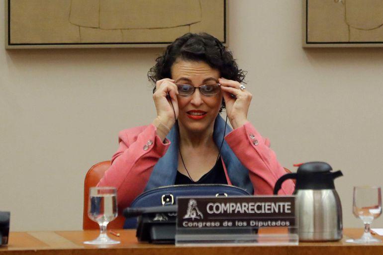 La ministra de Trabajo, Migraciones y Seguridad Social, Magdalena Valerio, comparece en la Comisión de Empleo del Congreso para exponer las líneas políticas de actuación de su departamento