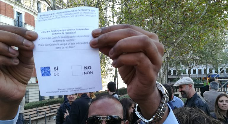 Manifestante a favor de los imputados en la Audiencia en octubre de 2017