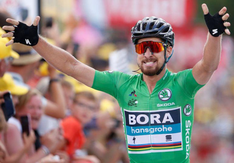 Peter Sagan celebra su segunda victoria en el Tour 2018
